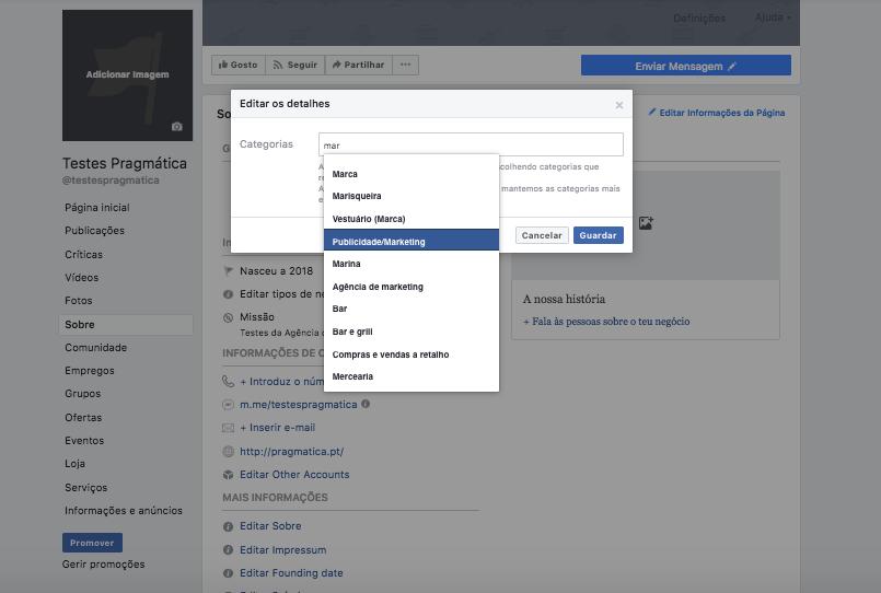 checklist facebook categoria