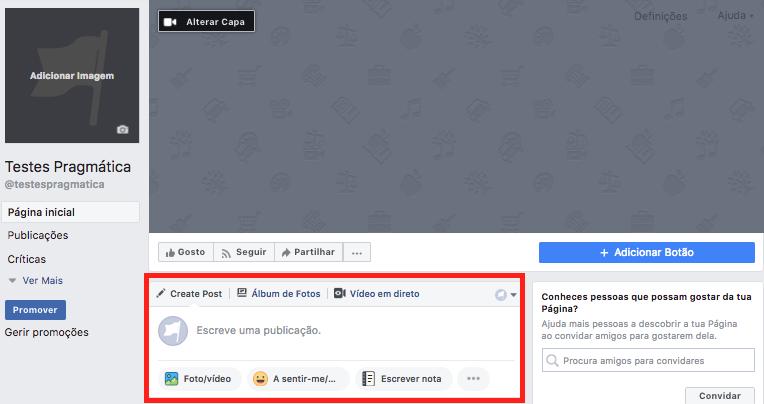 criar estado facebook