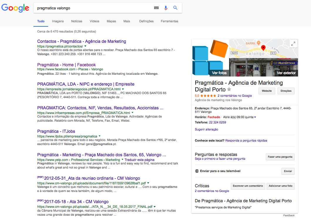 google my business pragmatica