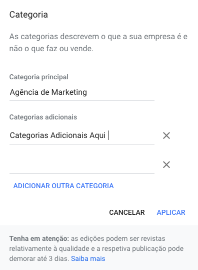 categorias google my business