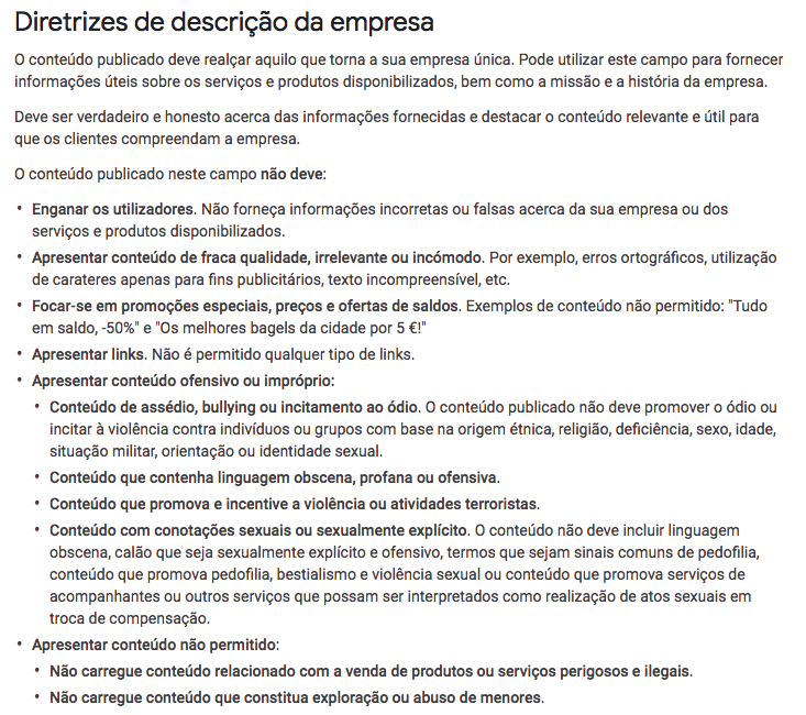 directrizes para descricao empresas my business